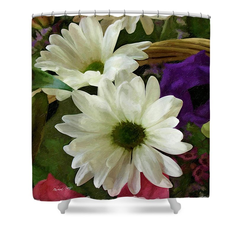 White Flowers Shower Curtain featuring the digital art A Flower Basket by Pachek