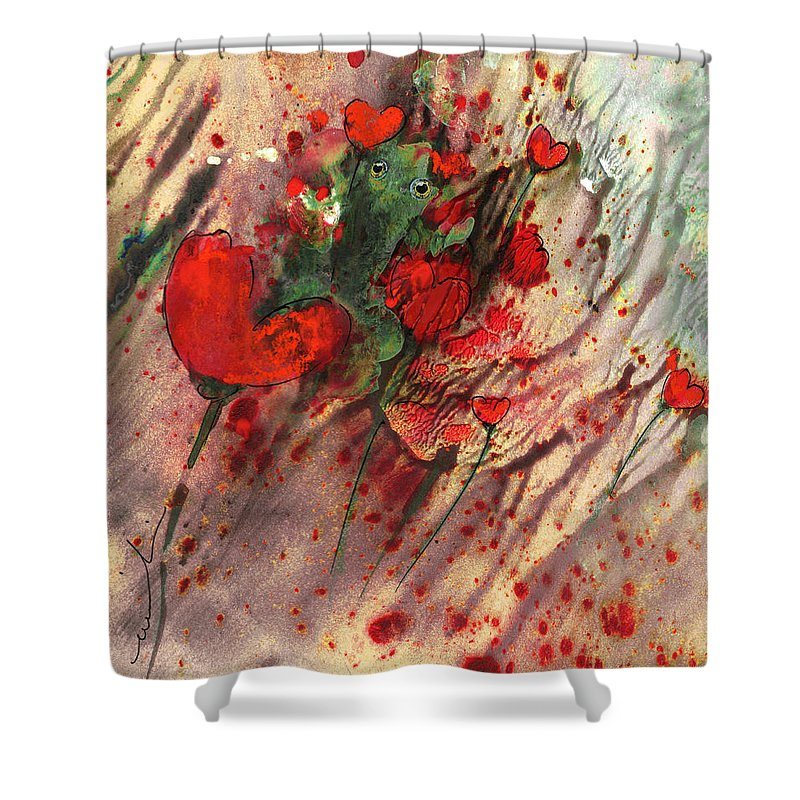 Animals Shower Curtain featuring the painting A Frog In Love by Miki De Goodaboom