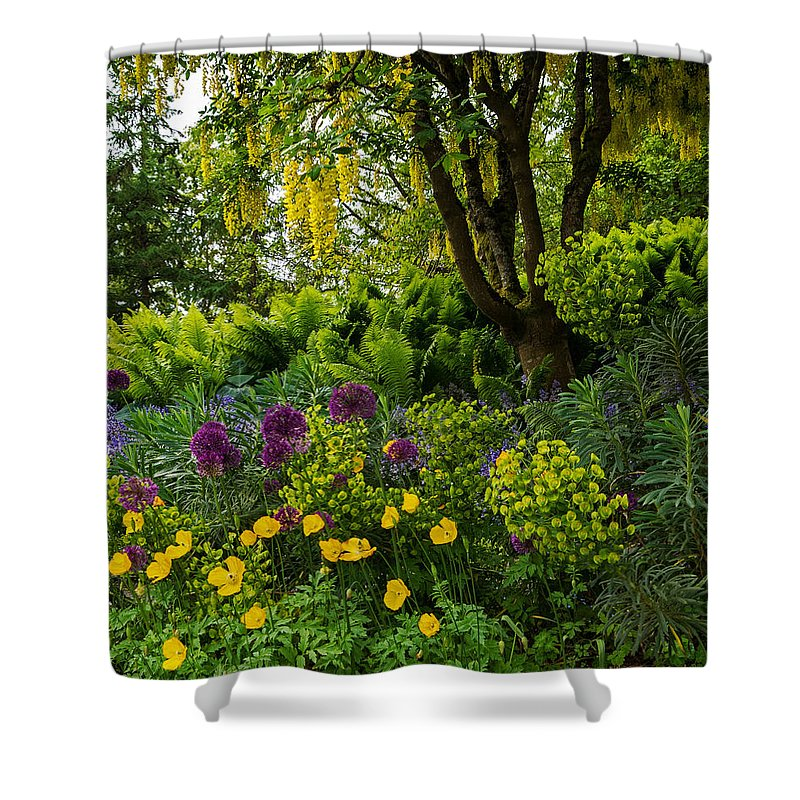 A Garden Of Color Shower Curtain featuring the photograph A Garden Of Color by Jordan Blackstone