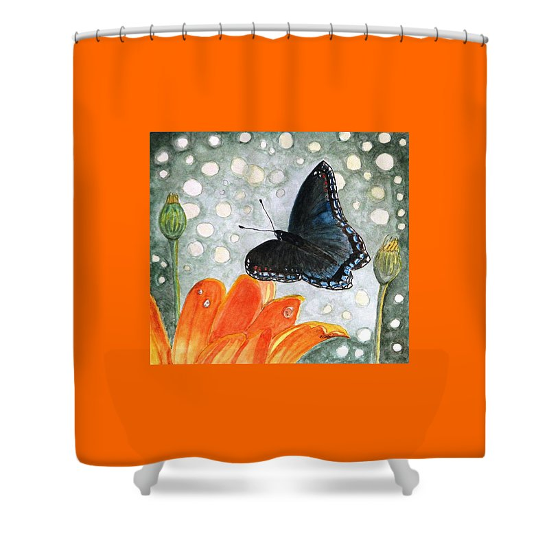 Watercolor Shower Curtain featuring the painting A Garden Visitor by Angela Davies