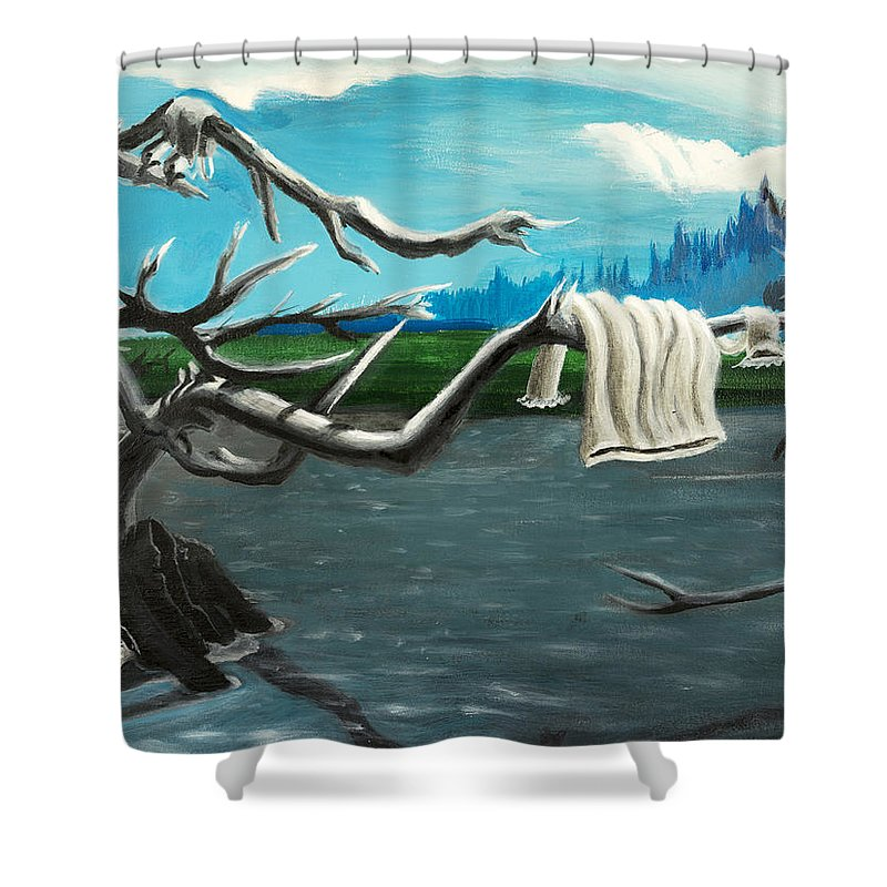 Water Shower Curtain featuring the painting Aura On The Lake by Click Price Tags To Go Forward