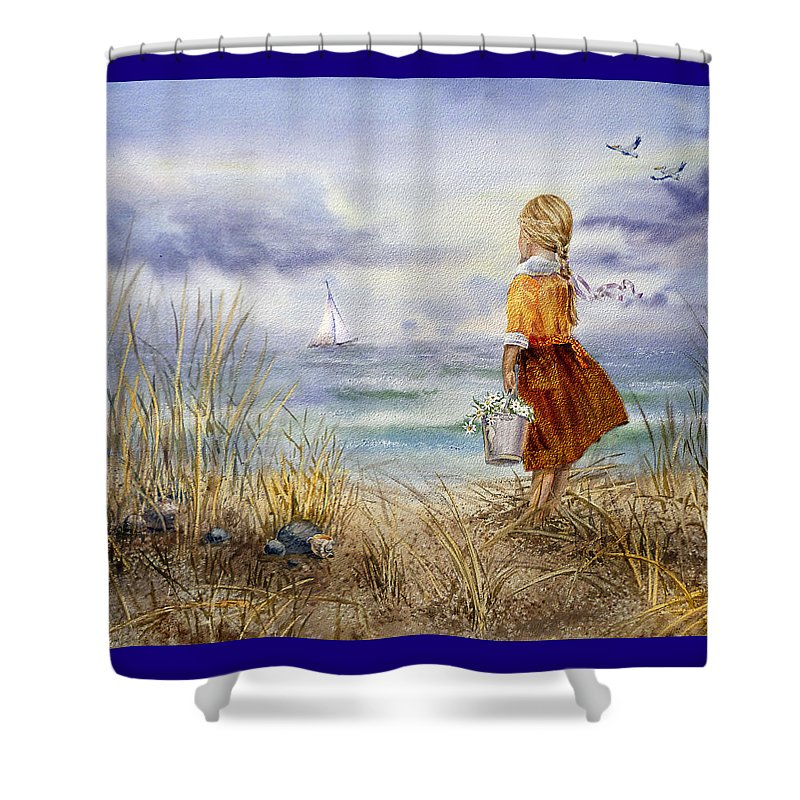 Girl And The Ocean Shower Curtain featuring the painting A Girl And The Ocean by Irina Sztukowski