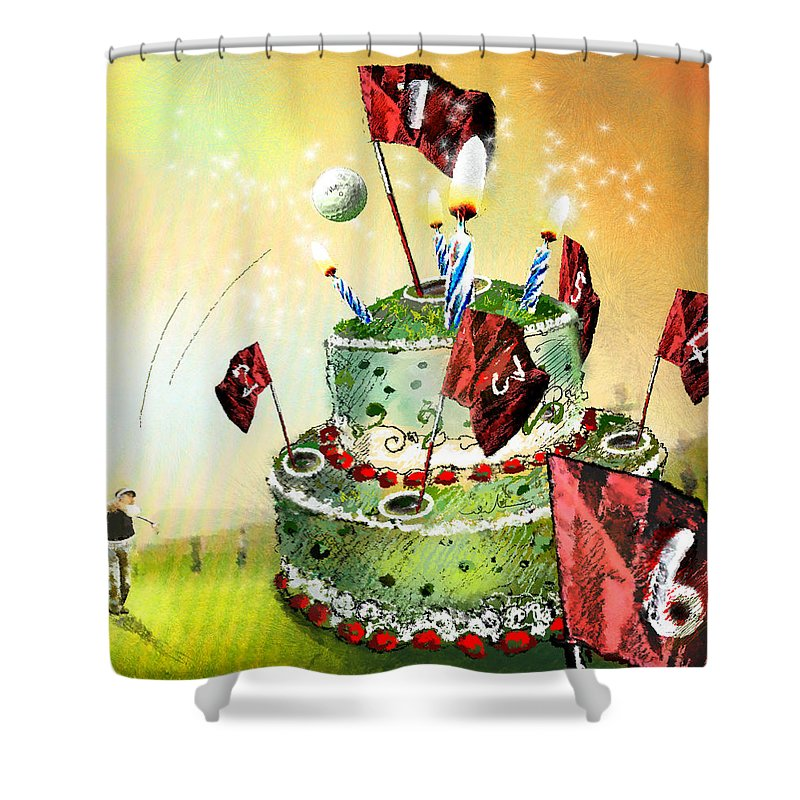 Fun Shower Curtain featuring the painting A Golfers Birthday Cake by Miki De Goodaboom