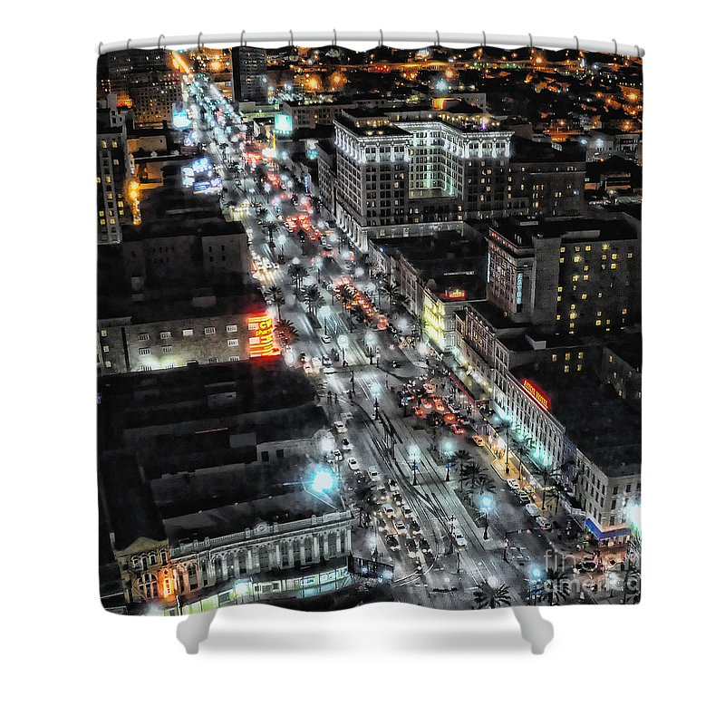 New Orleans Shower Curtain featuring the photograph A Gothic Night In New Orleans On Canal Street by Kathleen K Parker