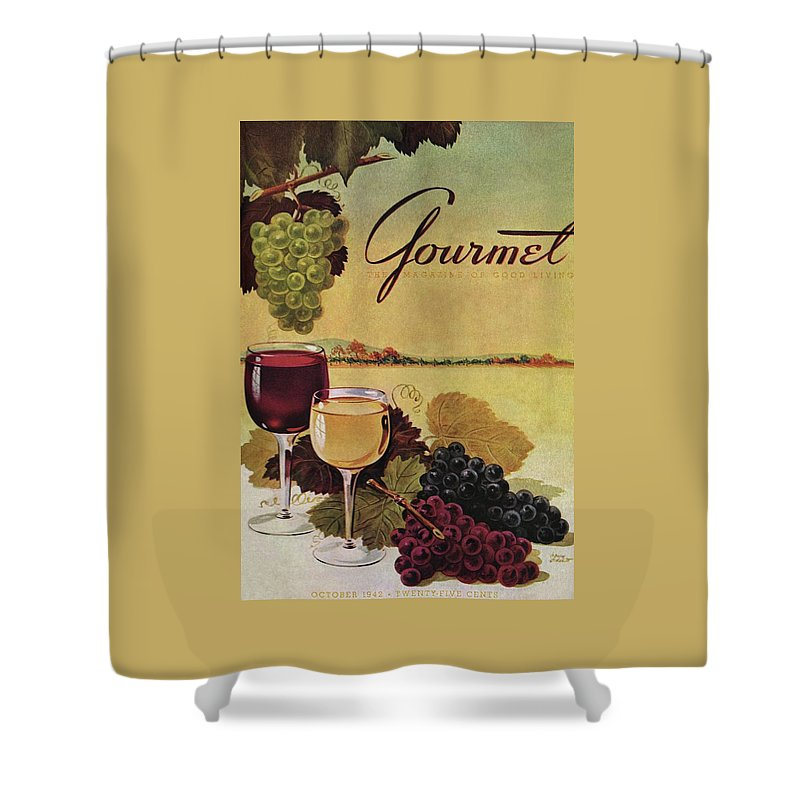 Exterior Shower Curtain Featuring The Photograph A Gourmet Cover Of Wine By Henry Stahlhut