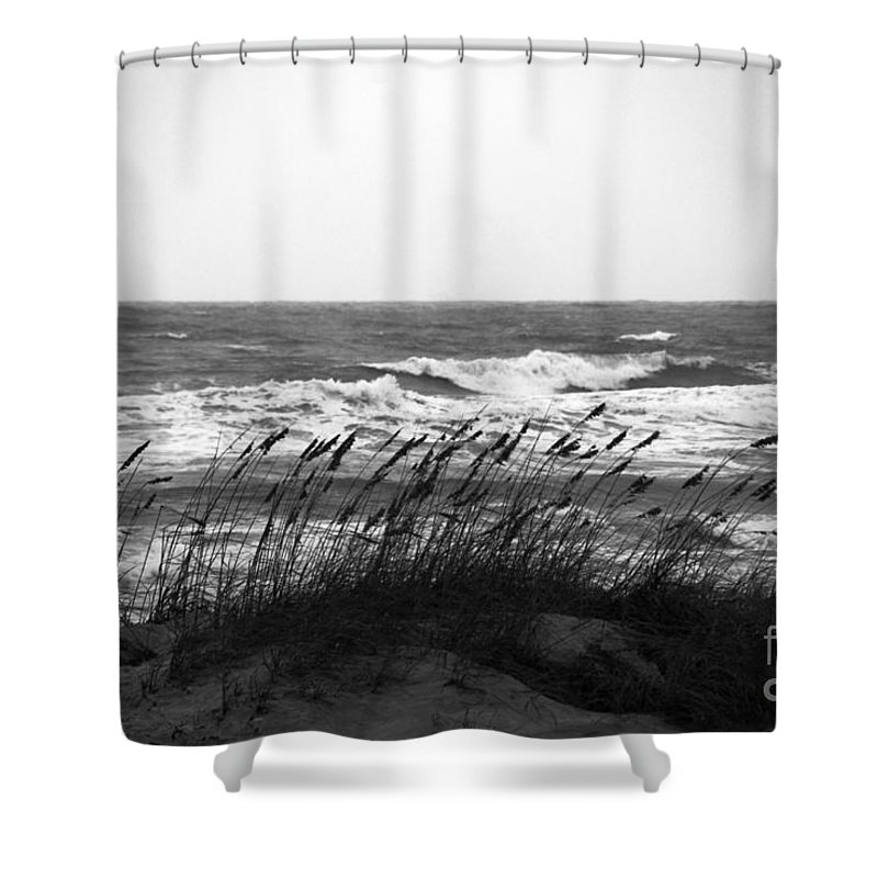 Waves Shower Curtain featuring the photograph A Gray November Day At The Beach by Susanne Van Hulst
