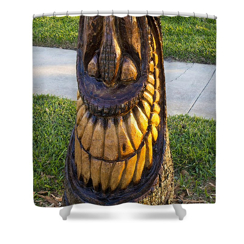 Tiki Shower Curtain featuring the photograph A Happy Tiki From A Palm Tree Stump by Allan Hughes