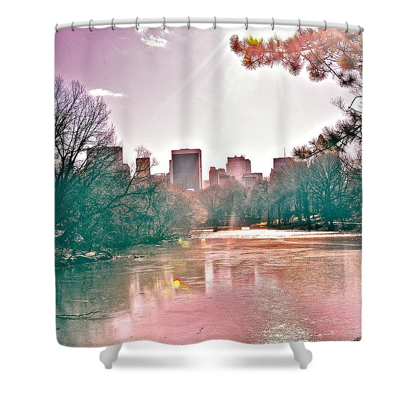 Central Park Shower Curtain featuring the photograph A Haze Over Central Park by Susi Perla