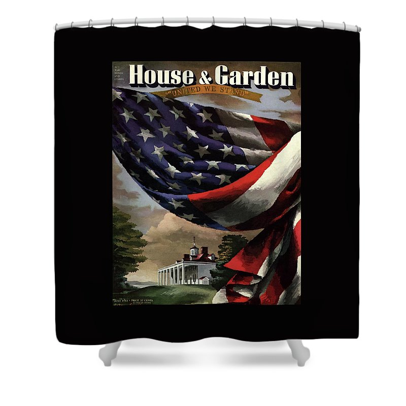 A House And Garden Cover Of An American Flag Shower Curtain for Sale ...