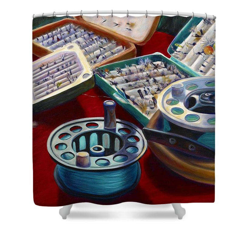 Still Life Shower Curtain featuring the painting A Howard Runs Through It by Shannon Grissom