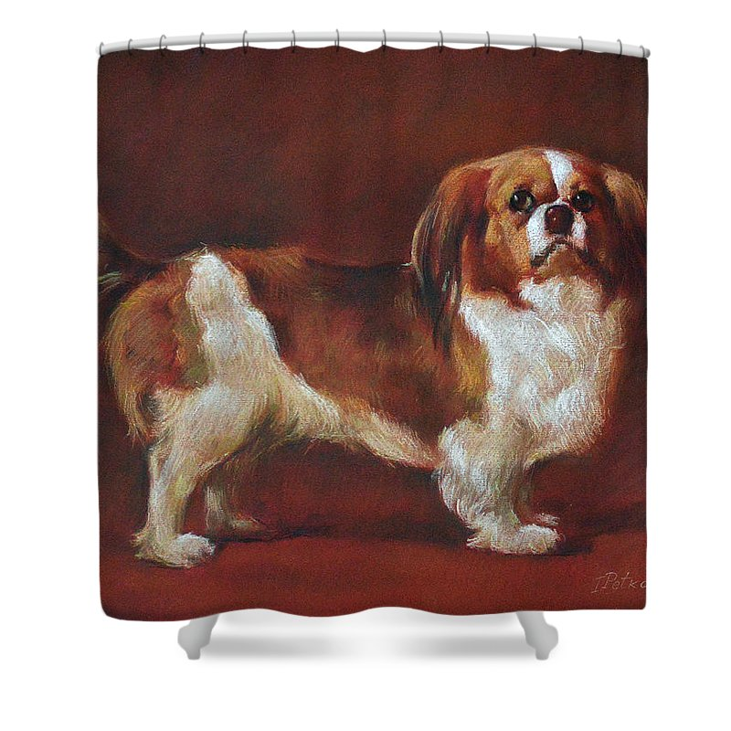 Pastel Shower Curtain featuring the pastel A King Charles Spaniel by Iliyan Bozhanov