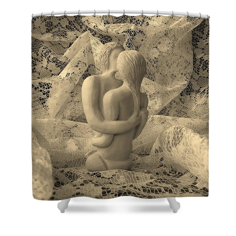 Sculpture Shower Curtain featuring the sculpture A Lace Kiss by Barbara St Jean