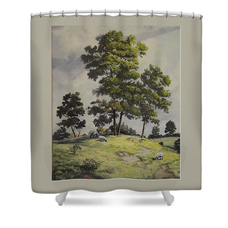 Landscape Shower Curtain featuring the painting A Lazy Day For Grazing by Wanda Dansereau