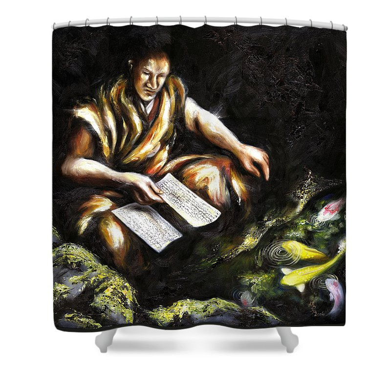 Japanesque Shower Curtain featuring the painting A Letter by Hiroko Sakai