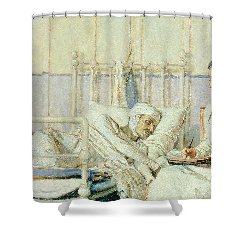 A Letter To Mother Shower Curtain featuring the painting A Letter To Mother by Piotr Petrovitch Weretshchagin