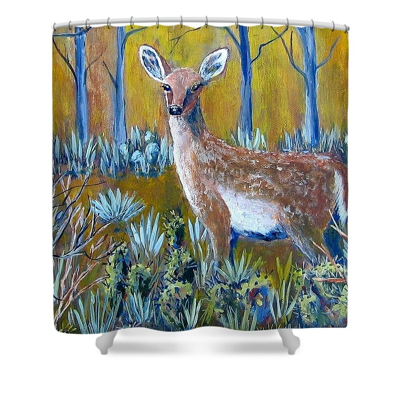 Landscape Shower Curtain featuring the painting A Little Rough Around The Edges by Suzanne Theis