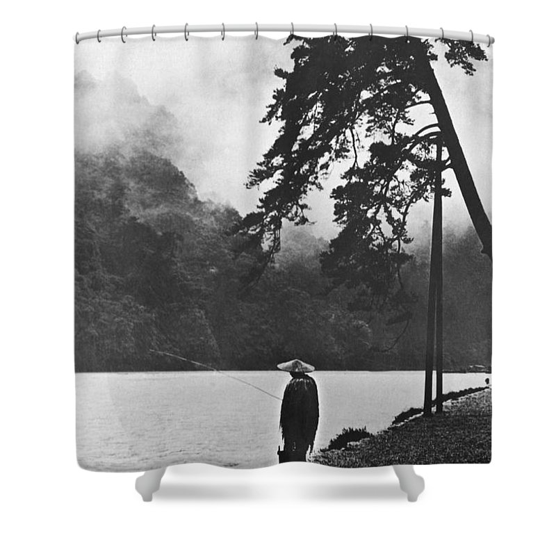 1 Person Shower Curtain featuring the photograph A Lone Japanese Fisherman by Underwood Archives