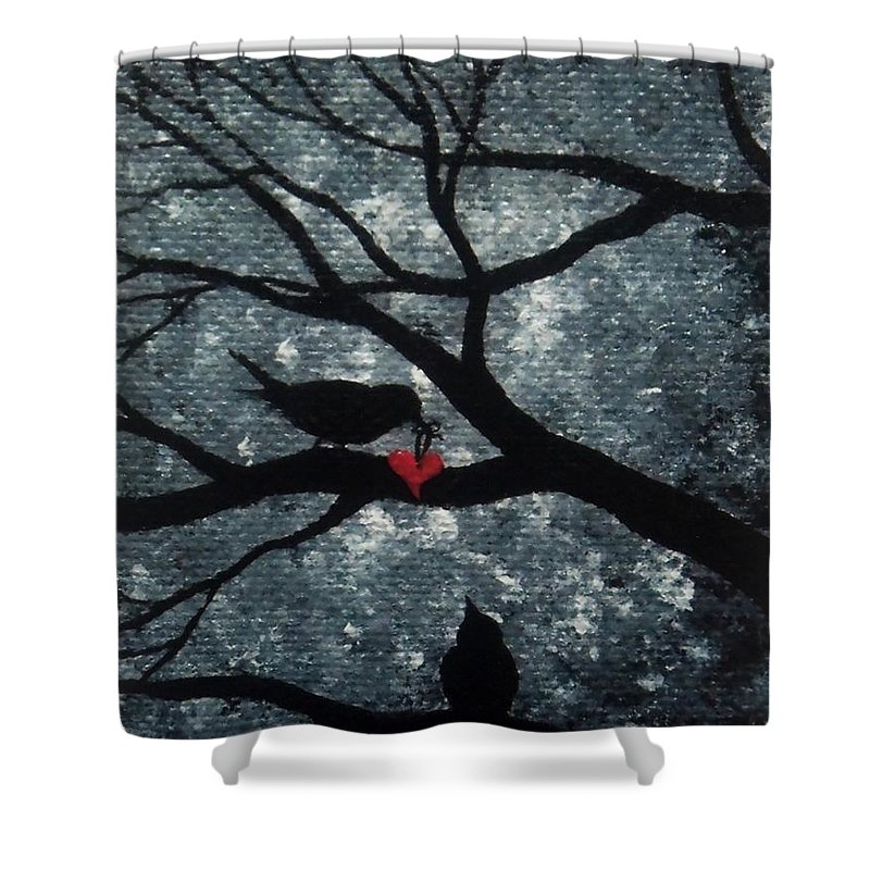 Love Shower Curtain featuring the painting A Love Story No 7 by Oddball Art Co by Lizzy Love