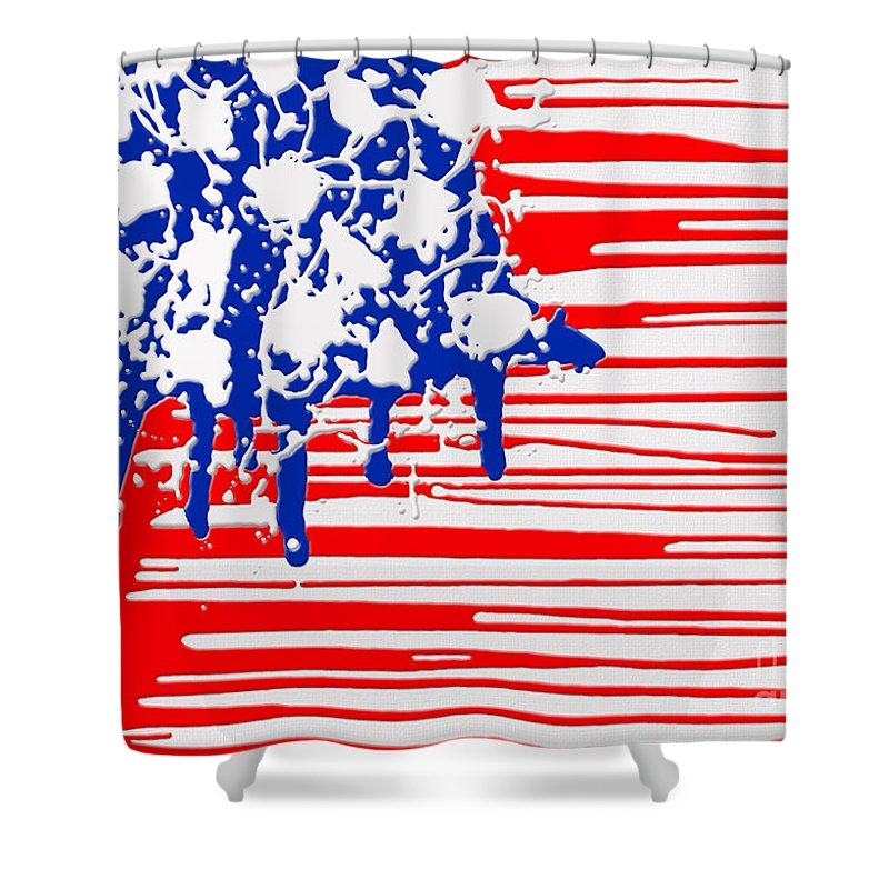 America Shower Curtain featuring the digital art A M E R I C A by Cristophers Dream Artistry