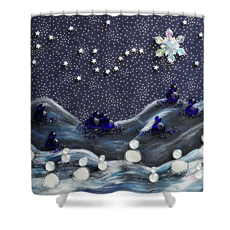 Snow Shower Curtain featuring the mixed media A Midnight Clear by Donna Blackhall