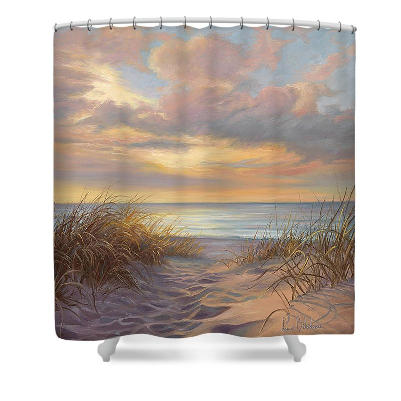 Beach Shower Curtain featuring the painting A Moment Of Tranquility by Lucie Bilodeau