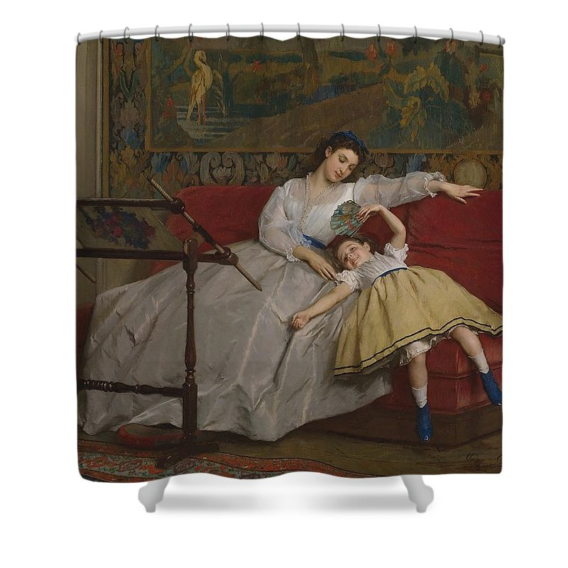Gustave Shower Curtain featuring the painting A Mother And Her Young Daughter by Gustave Leonard de Jonghe