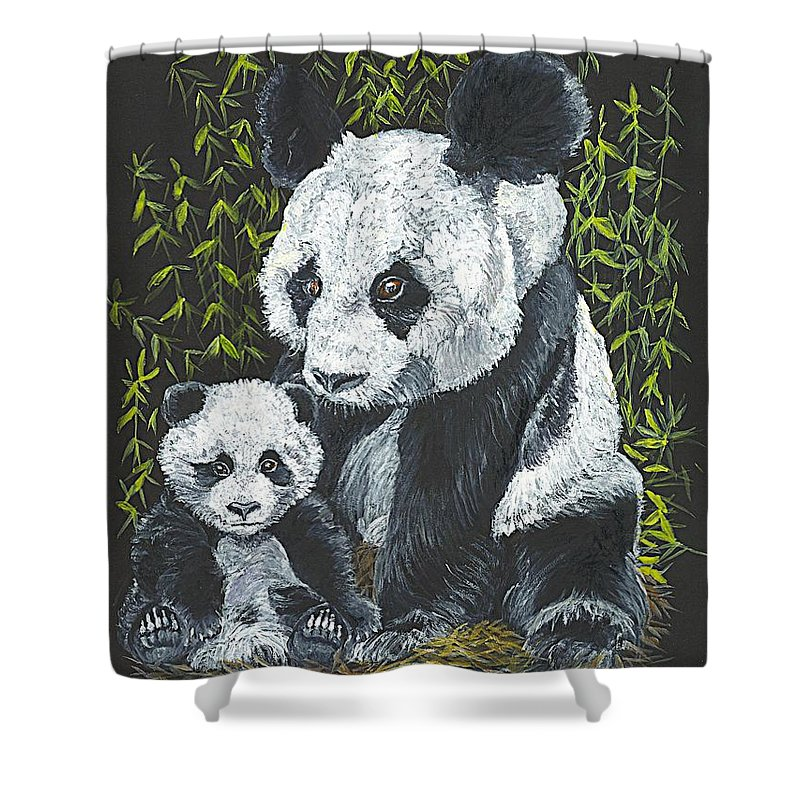 Panda Shower Curtain featuring the painting A Mothers Devotion by Carol Wisniewski