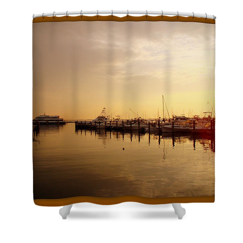 Harbor Shower Curtain featuring the photograph A New Day Beings On The Water - Atlantic Highlands - Nj by Mother Nature