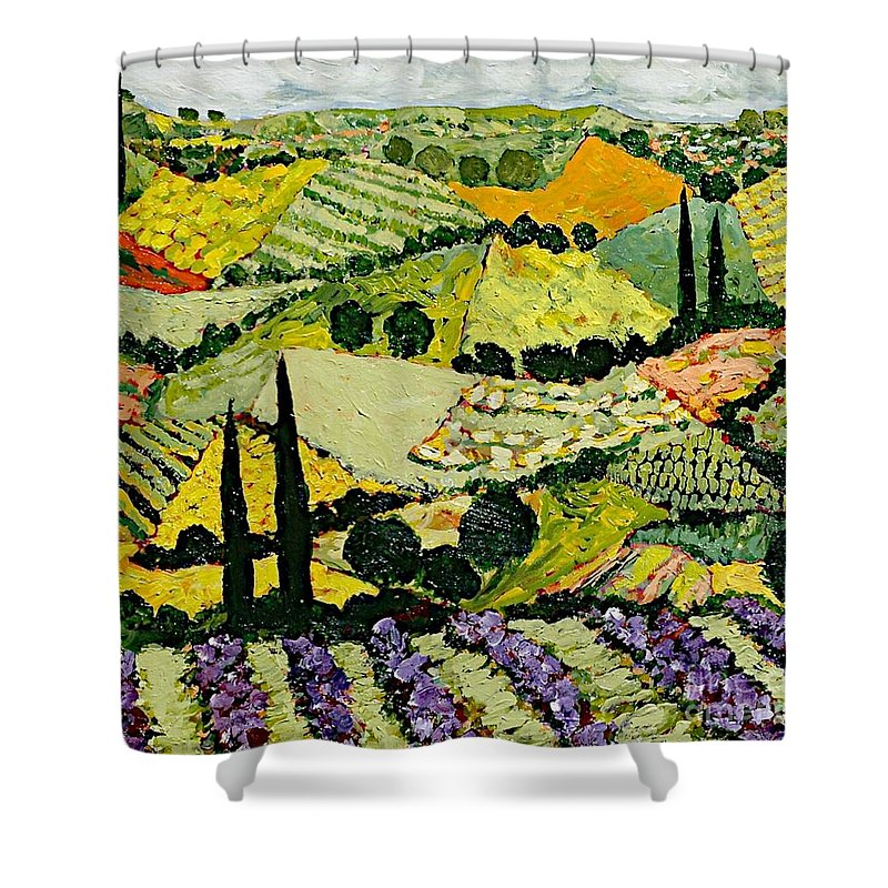 Landscape Shower Curtain featuring the painting A New Season by Allan P Friedlander