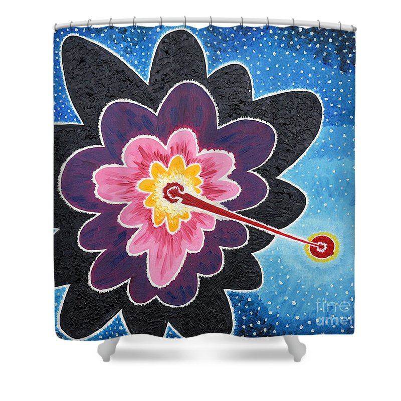 Star Shower Curtain featuring the painting A New Star Is Born. by Taikan Nishimoto