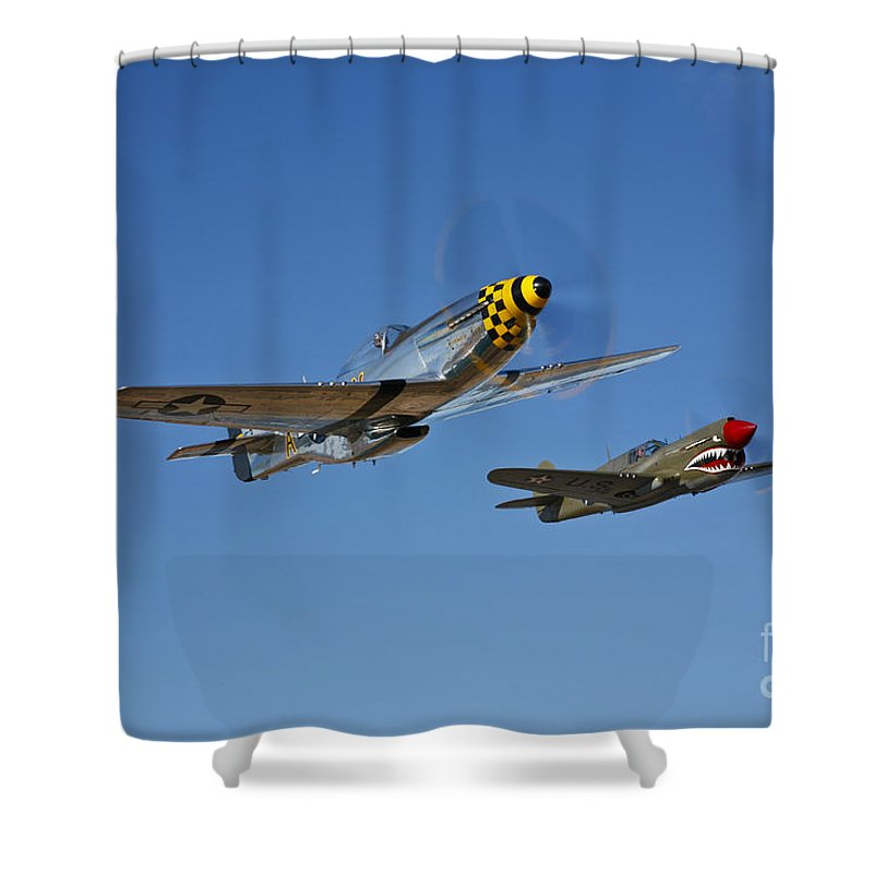 Horizontal Shower Curtain featuring the photograph A P-51d Mustang Kimberly Kaye by Scott Germain