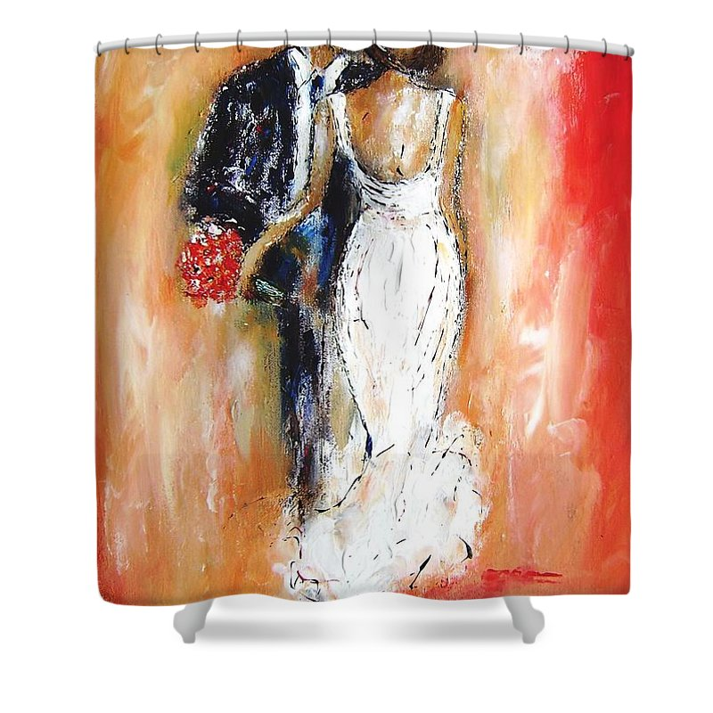 A Painting Gift For The Wedding Couple Shower Curtain For Sale By