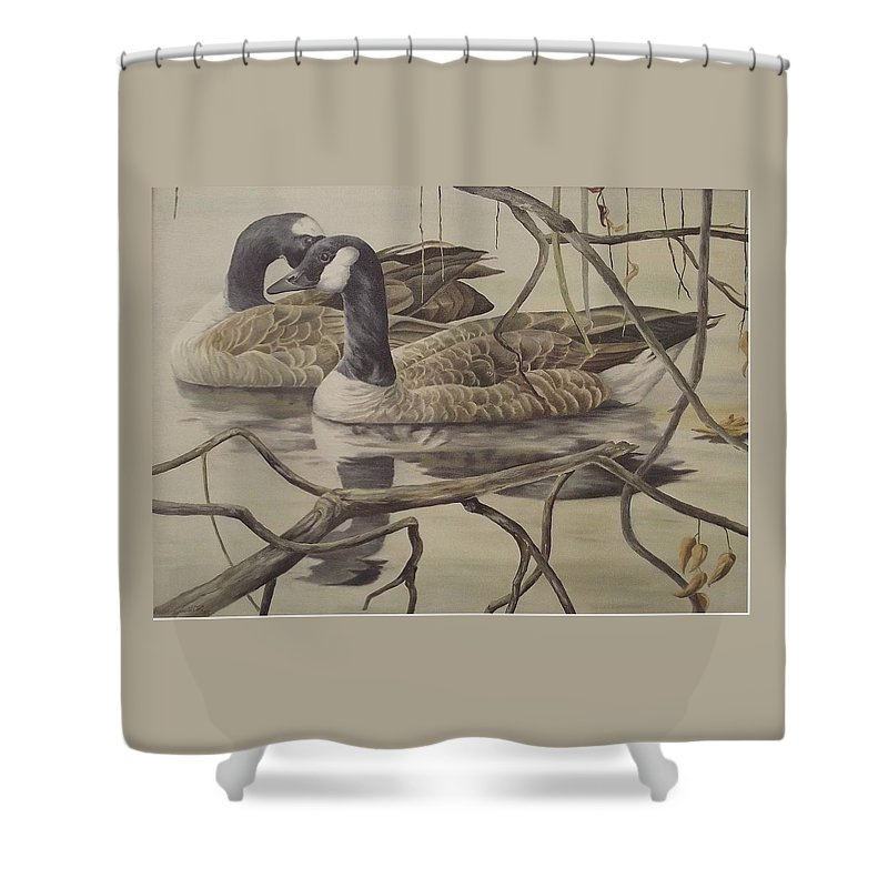 Water Shower Curtain featuring the painting A Pair Of Ducks by Wanda Dansereau