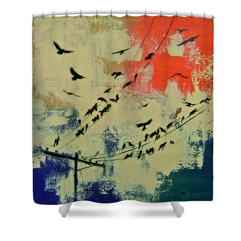 Abstract Landscape Shower Curtain Featuring The Painting A Perfect Murder By Kim Sobat