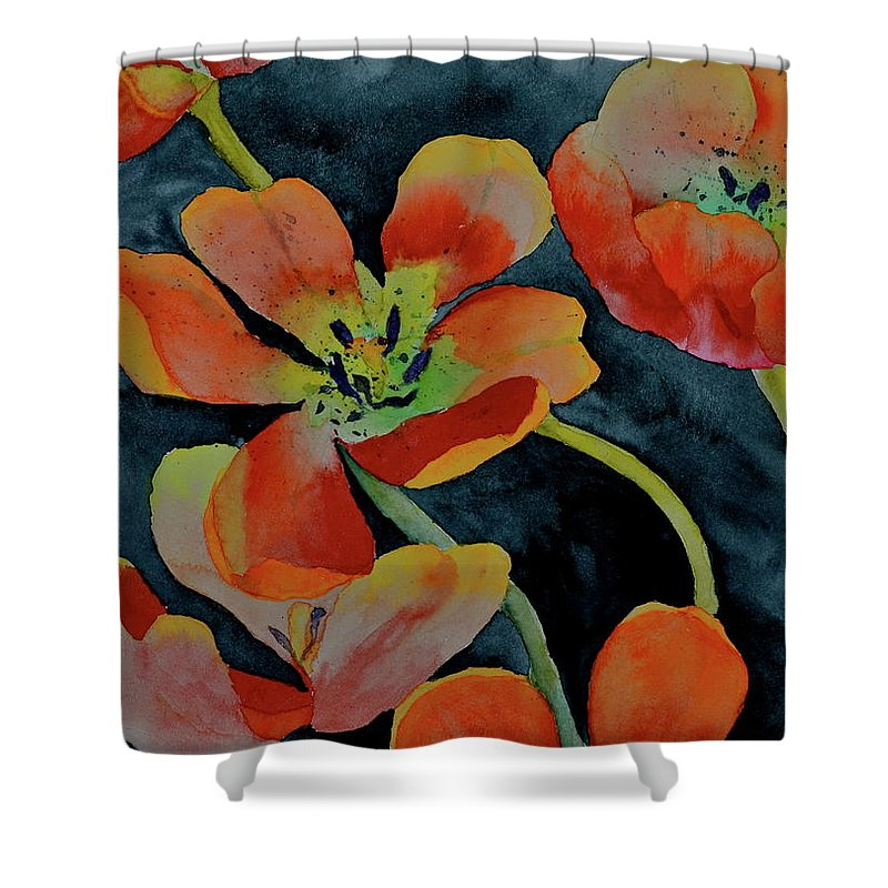 Tulips Shower Curtain featuring the painting A Place To Start by Beverley Harper Tinsley