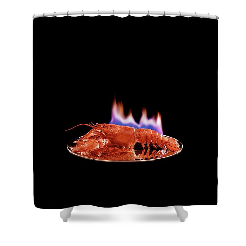 Food Shower Curtain Featuring The Photograph A Plate Of Lobster Flambe By Fernand Fonssagrives