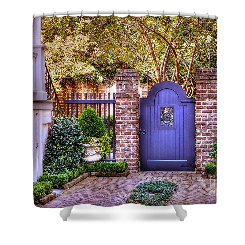 Garden Shower Curtain featuring the photograph A Private Garden In Charleston by Kathy Baccari