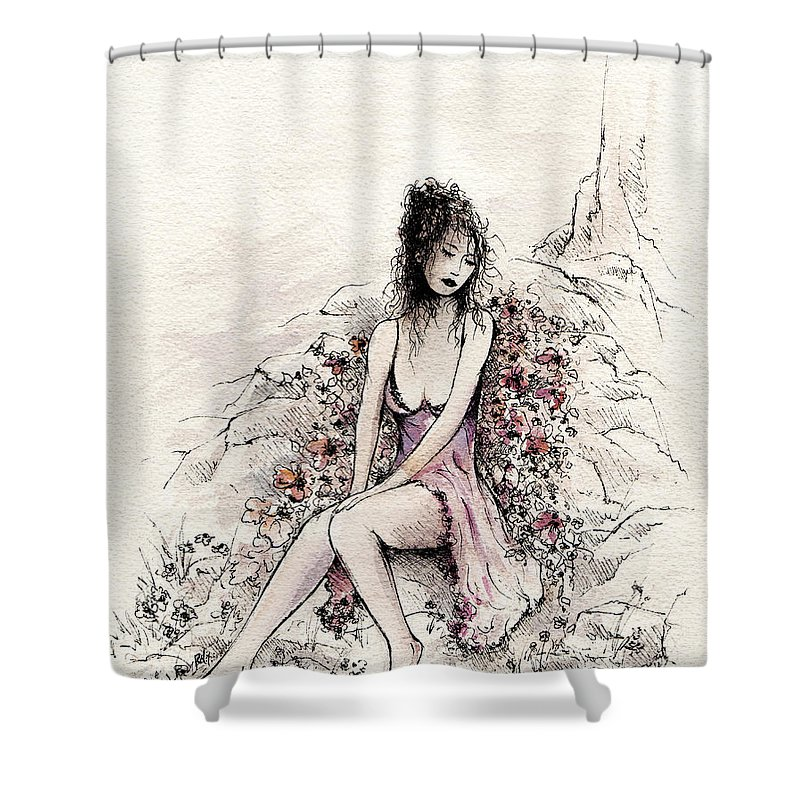 Female Shower Curtain featuring the painting A Romantic Moment by Rachel Christine Nowicki