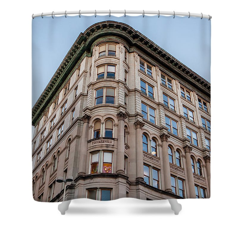 Architecture Shower Curtain featuring the photograph A Round The Corner by Melinda Ledsome