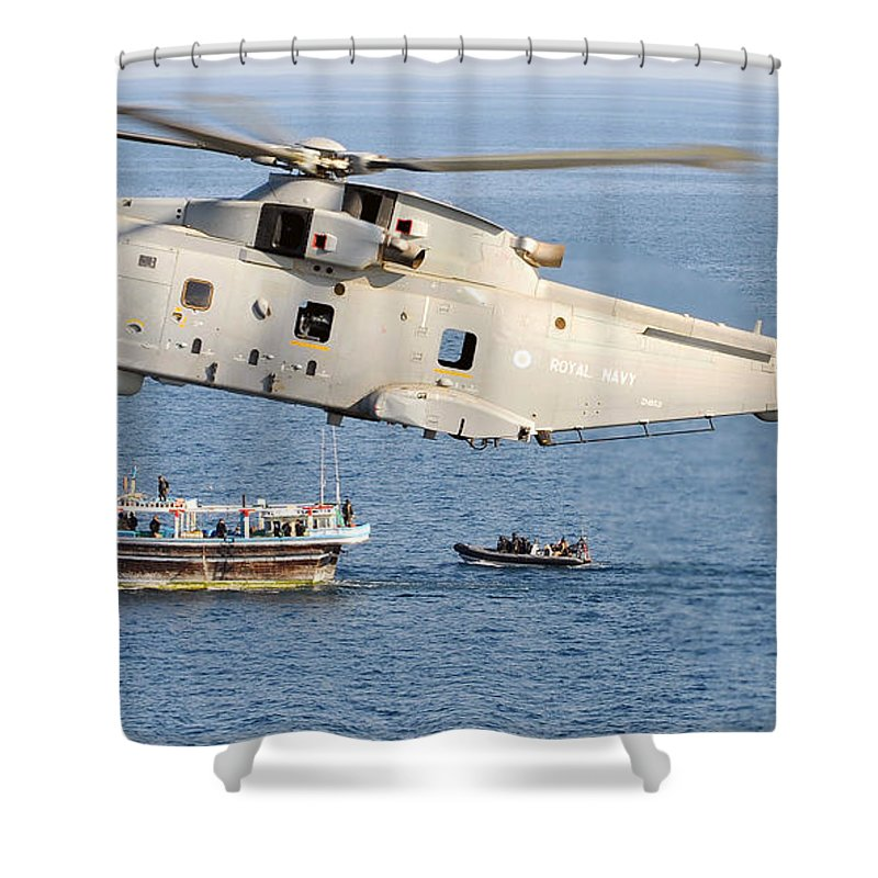 Royal Navy Shower Curtain featuring the photograph A Royal Navy Merlin Helicopter by Paul Fearn