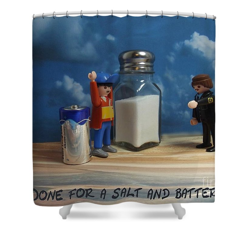 Assault Shower Curtain featuring the photograph A Salt And Battery by Caroline Peacock