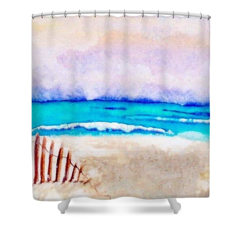 Watercolor Painting Shower Curtain featuring the painting A Sand Filled Beach by Chrisann Ellis