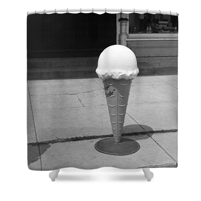 1930s Shower Curtain featuring the photograph A Sidewalk Ice Cream Cone by Russell Lee