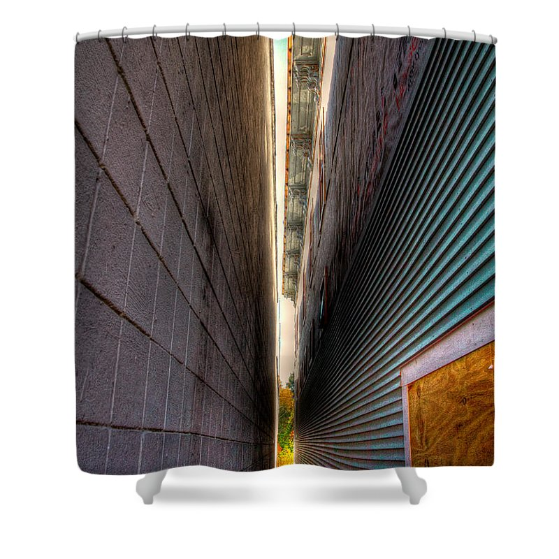 Wooden Siding Shower Curtain featuring the photograph A Sliver Of Autumn by David Patterson