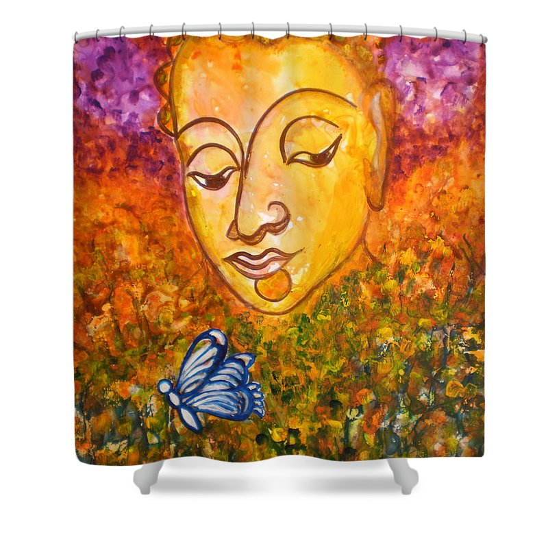 Abstract Print Art Painting Buddha Butterfly Purple Inspirational Traditional Yellow Red Orange Shower Curtain featuring the photograph A Soulful Journey by Manjiri Kanvinde
