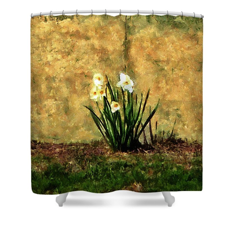 Daffodils Shower Curtain featuring the painting A Spot Of Spring by RC DeWinter