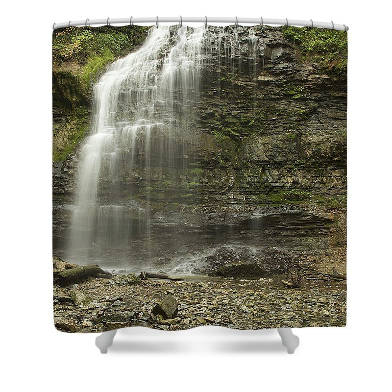 Ancaster Shower Curtain featuring the digital art A Summer Walk To Tiffany Falls by Phill Doherty