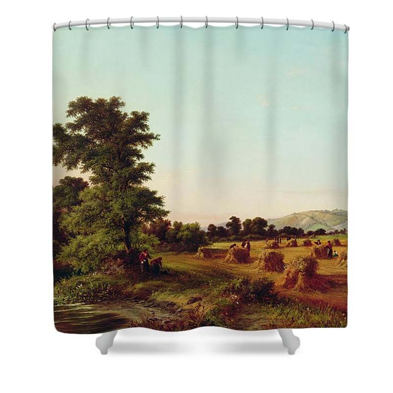 English Shower Curtain featuring the painting A Surrey Cornfield by Walter Williams