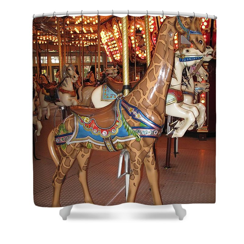 Carousel Shower Curtain featuring the photograph A Tall Ride by Barbara McDevitt