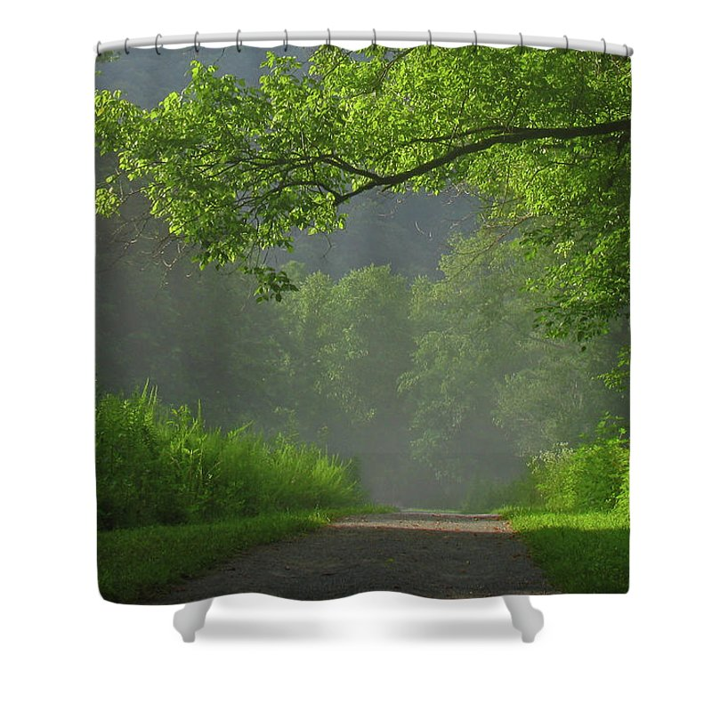 Green Shower Curtain featuring the photograph A Touch Of Green by Douglas Stucky